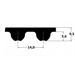 Timing belt Omega HP 1400 14MHP 115mm