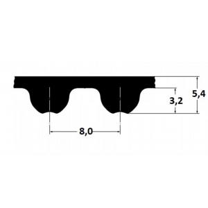 Timing belt Omega HP 1040 8MHP 80mm